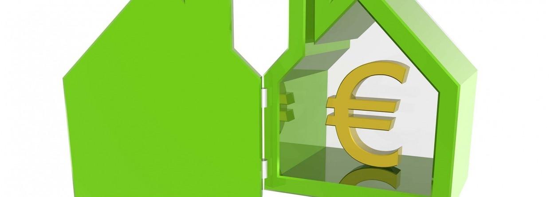 Euro teken in groene afbeelding van een huis